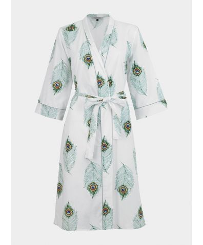 Cotton Belted Wrap Robe - White Peacock