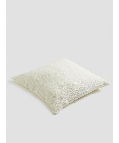 Linen Crinkle Cushion - Cream