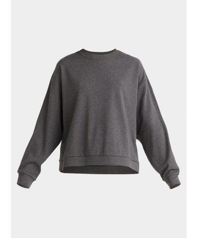 Cotton Crew Neck Sweatshirt - Dark Grey