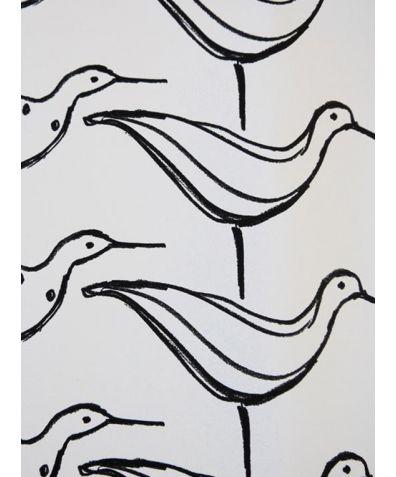Ducks in a Row Wallpaper - White Background & Black Ducks