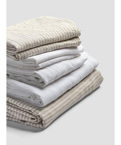 Linen Bedtime Bundle - Oatmeal Stripe