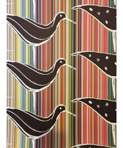 Ducks in a Row Wallpaper - Multi Stripe With Black Ducks