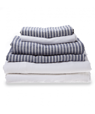 100% Natural French Flax Linen Bedtime Bundle - Midnight Stripe