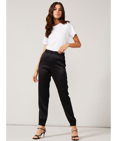 EMSY Elasticated Stretch Satin Silk Jogger Trouser - Black