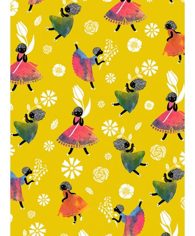 Flower Girls - Yellow Non Woven Wallpaper