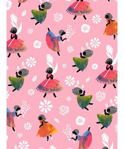 Flower Girls - Pink Non Woven Wallpaper