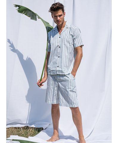 Mens Palmarola Cotton Pyjama Short Set - Blue