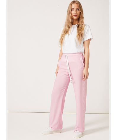 J Joggers in Satin with Side Stripe - Pink Crepe de Chine