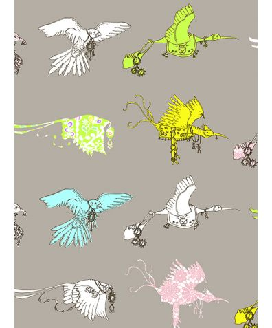 Flying Journey Non Woven Wallpaper - Grey