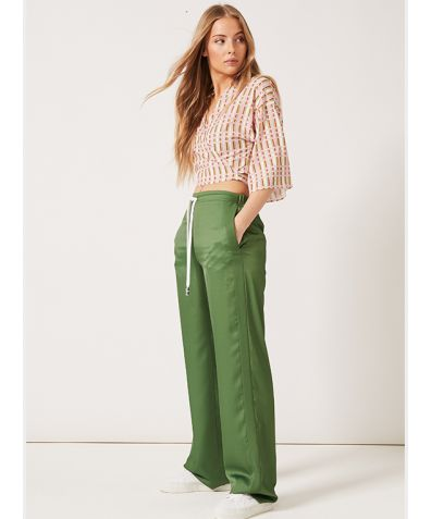 J Joggers in Satin with Side Stripe - Green Crepe de Chine