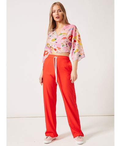 J Joggers in Satin with Side Stripe - Red Crepe de Chine