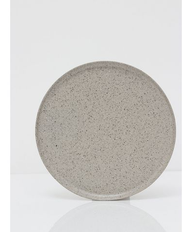 Artisan Ceramic Plate - Feather Grey