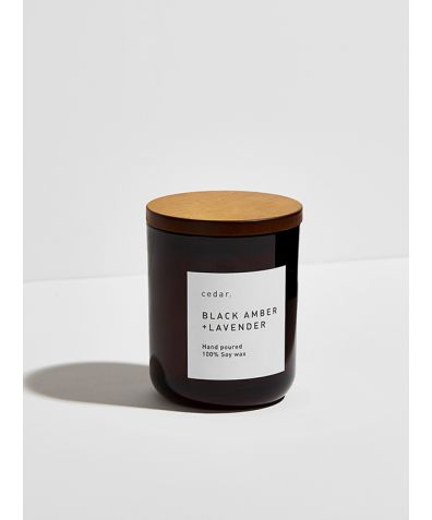 Soy Wax Candle - Black Amber + Lavender, 300ml