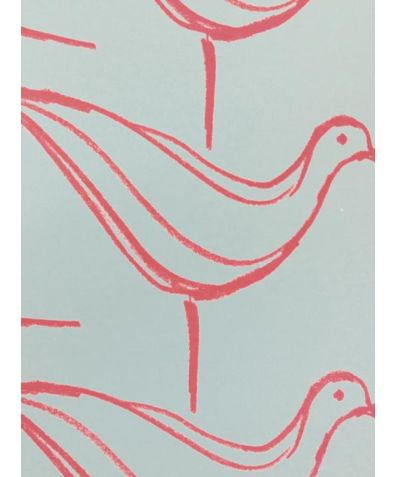 Ducks in a Row Wallpaper - Soft Aqua And Raspberry