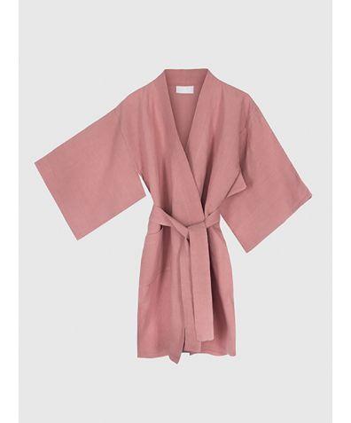 Children's Linen Kimono - Dusty Pink