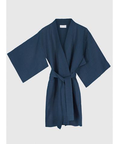 Children's Linen Kimono - Navy