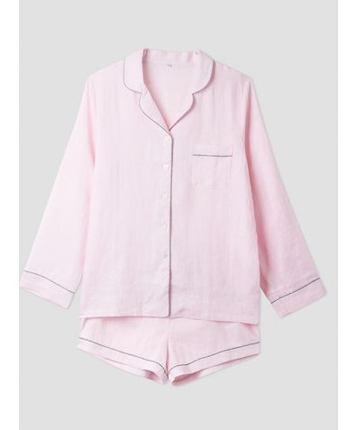 Women's Pink Linen Pyjama Short - Set/Separate