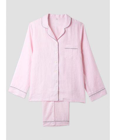 Mens Pink Linen Pyjama Trouser - Set/Separate