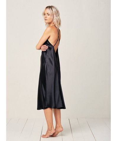 Clara Silk Nightdress - Midnight Black