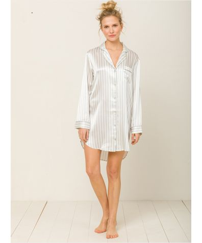 Camilla Silk Nightshirt - Hiatu Grey Stripes