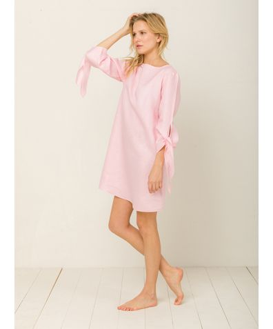 Mia Linen Nightdress - Candy Rosé