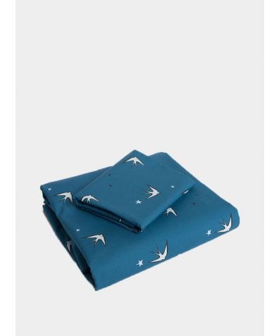 Cotton Bed Set - Blue Swallow