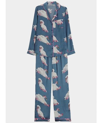 Women's Satin Pyjama Trouser Set - Grey Swan