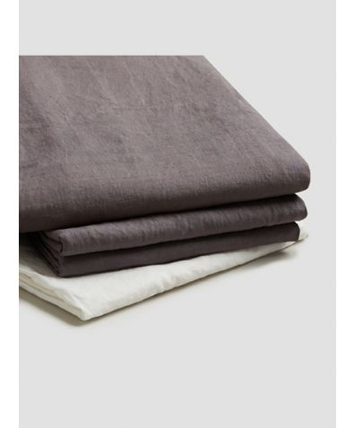 Natural French Flax Linen Basic Bundle - Charcoal