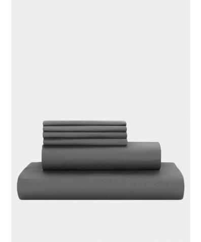 Deluxe 500 Thread Count Cotton Sateen Duvet Set - Deep Grey