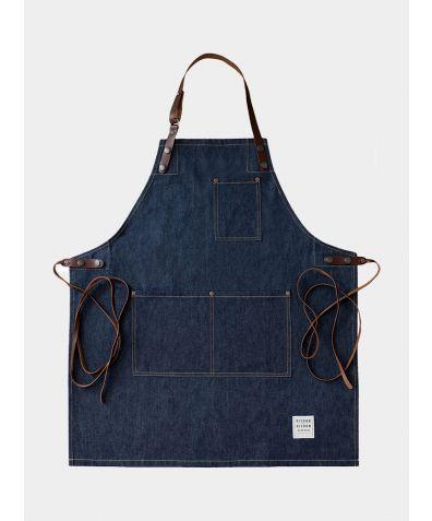 Denim and Leather Street Apron - Indigo Blue