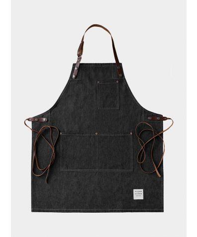 Denim and Leather Street Apron - Black