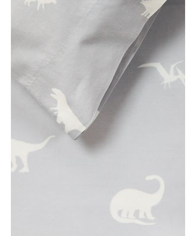 Cotton Duvet Cover - Grey Dinosaurs