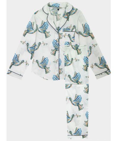 Women's Cotton Pyjama Trouser Set - White Peace Dove