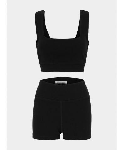 Eden Ribbed Organic Cotton Short Set - Black