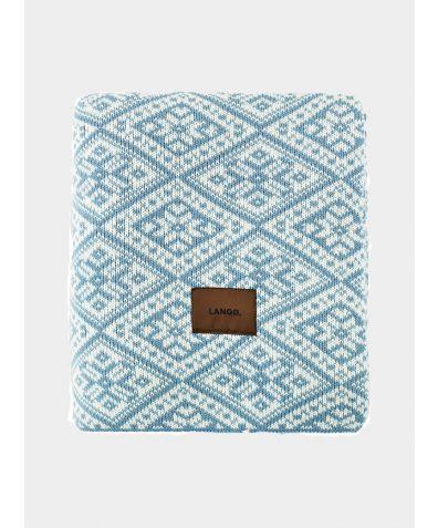 Wool Blanket - Light Blue - White