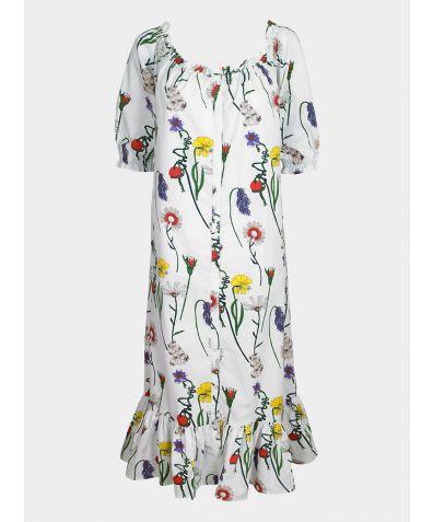 Women's Cotton Tiered Nightie - White Field Flowers