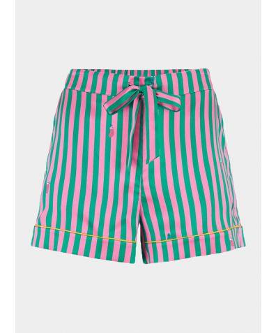 Women's Silk Pyjama Short - Rosie Flamingo Caterpillar Stripe