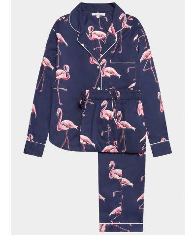 Women's Cotton Pyjama Trouser Set - Pink Flamingos on Navy
