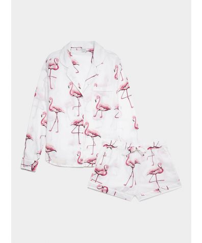 Women's Cotton Pyjama Short Set - Pink Flamingos on White