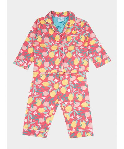 Girls Organic Cotton Pyjama Trouser Set - Lemon Grove