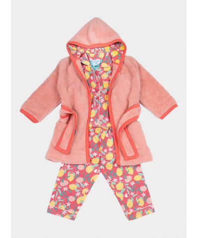 Girls Dressing Gown and Button Up Pyjamas Luxury Gift Set - Lemon Grove