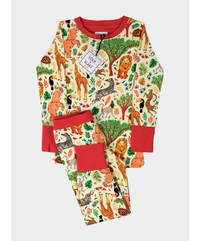Children's Cotton Jersey Pyjama Trouser Set - Safari