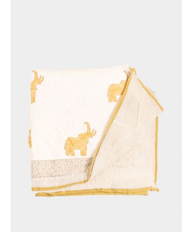 Quilted Cotton Throw - Diya Elephant