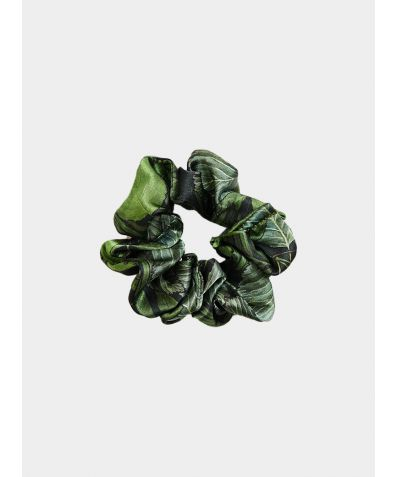 Silk Scrunchie - Green Leaf