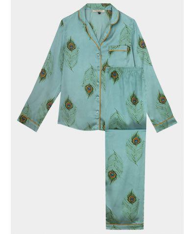 Women's Satin Pyjama Trouser Set - Jade Green Peacock Feather
