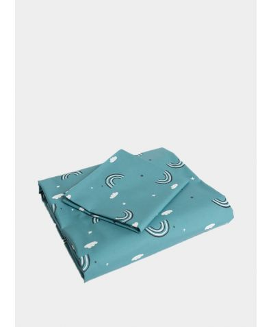 Cotton Bed Set - Teal Rainbow