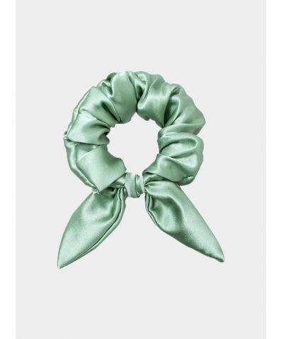 Silk Scrunchie with Knot Detail - Sage