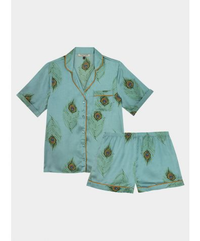 Women's Satin Pyjama Short Set - Jade Green Peacock