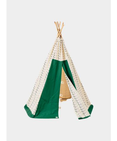 Organic Cotton Canvas Teepee with Bamboo Poles - Green