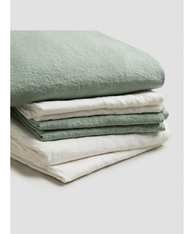 Natural French Flax Linen Bedtime Bundle - Sage Green
